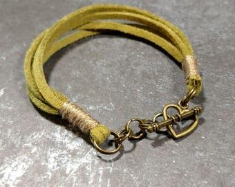Olive Suede/Beige Cotton Toggle Bracelet
