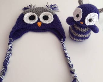 Owls set hat and rattle