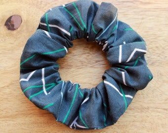 Gray with lines, hair accessory, elastic scrunchie / scrunchie
