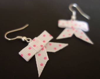 White polka dot bow earrings roses