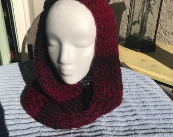 Handmade Knitted Hooded Scarf / Infinity Scarf - Item #4010