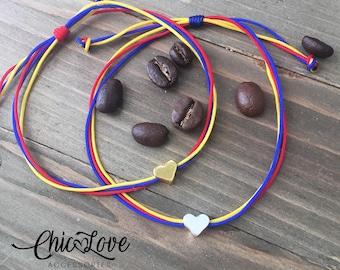 Colombian Bracelet with Small Heart, Pulsera de Colombia, Colombian Bracelet, Bracelet, Colombian Flag