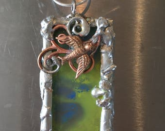 Encaustic pendants on sterling silver chains