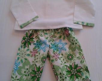 Blouse Peter Pan collar and pants set size 12 months