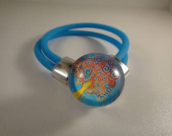 New: Bracelet in matte blue burna for interchangeable snap Chunk of 18 to 25mm