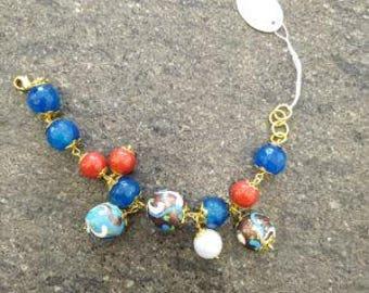 Blue & Coral agate bracelet