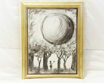 Charcoal Handmade Art / Drawing / Wall Decor / Gold Framed Art / Wall Art /
