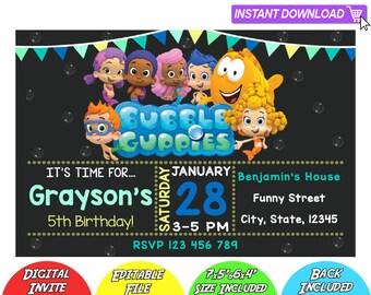 SALE 80% OFF: Bubble Guppies Invitation, Bubble Guppies Instant Download Invitation, Bubble Guppies Invitations, Bubble Guppies Birthday