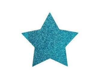 5 X 4.8 cm Blue glittery star fusible pattern