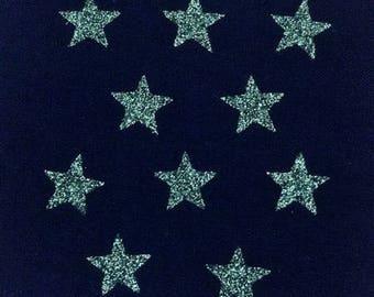 10 stars hot-melt khaki green glittery 15x15mm