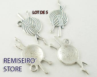 Set of 5 charms knitting ball of yarn in silver 26 mm