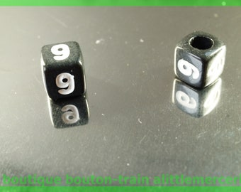 number 9 cube bead 6 mm black and white plastic