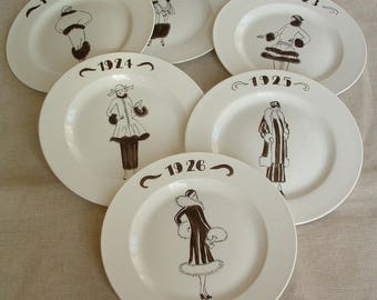 Set of 6 roaring twenties porcelain dessert plates