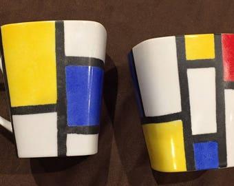 Great pattern Modrian porcelain Mugs