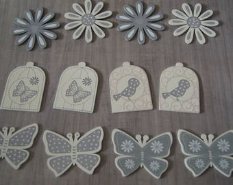 SET OF 12 PANELS APPROXIMATELY HEIGHT 6 CM FLOWERS BUTTERFLY BIRD CAGE