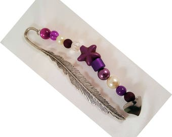 "Bookmark ""Feather"", approx. 141 x 22 mm, altsilberfarben with purple beads, turquoise-starfish, stainless steel heart"