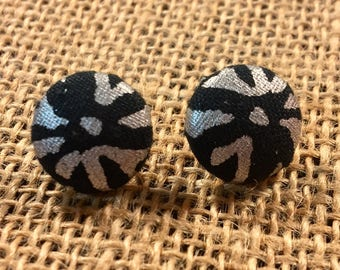 Silver Lining - Fabric Button Earrings