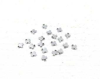 5 charm cross stainless steel / stainless steel 6 x 5 x 0.9 mm