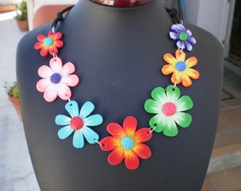 Romantic style with polymer clay flower NECKLACE