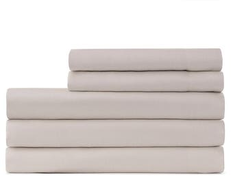 cotton sateen bed sheet and pillow set