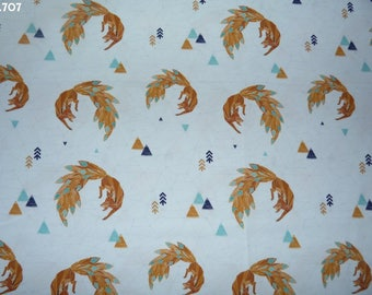 Fabric C707 foxes origami on white coupon 35x50cm