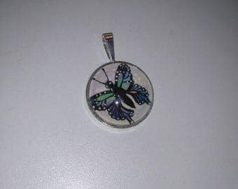 Butterfly cabochon pendant Multicolor watercolor