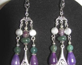 MOSS agate, antigorites violet and Amethyst earrings