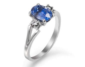 Sapphire Engagement Ring, Sapphire and Diamonds Engagement Ring, Brillant Engagement Ring, 18K White Gold Ring