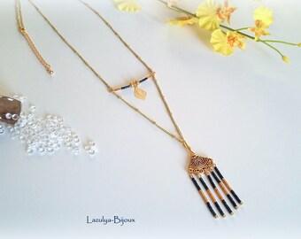 Necklace ethnic Chic end pendant range Aztec beads Miyuki-charm with gold leaf filigree
