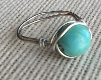 Turquoise Bead Ring, Wire Ring, Wire Wrapped Ring, Turquoise Ring, Bead Ring, Statement Ring, Boho Ring, Silver Ring