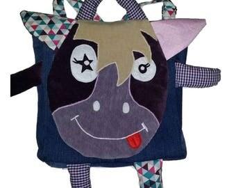 Backpack funny baby or child, nanny, nursery or school kindergarten pony, horse
