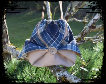 "Pouch / bag origami ""blue Plaid"""