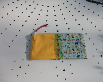 Double yellow and blue cotton pencil case