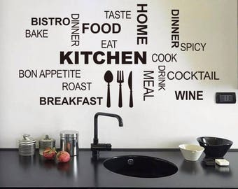 Kitchen Wall Quotes, Kitchen Wall Decal, Vinyl Wall Decor, Kitchen Mural,  Quotes