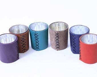 colorful leather and silver glass candle