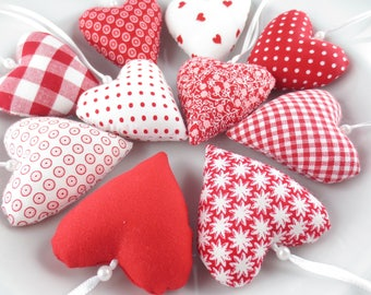 Fabric hearts in red
