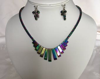 Rainbow Hematite Egyptian Style Necklace and Earrings Set