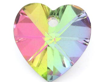 heart charm with multicolored faceted glass 14x14mm