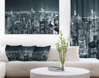 New York City Skyline at Night in Cityscape Canvas Art Print and Landscape Metal Wall Art  (PT6436)