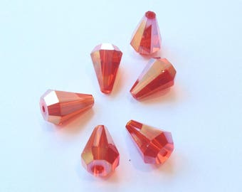 Stunning Swarovski Crystal faceted drops, orange light AB (B21) 14X10mm