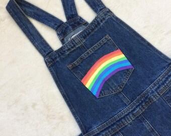 Hand painted rainbow dungarees dress / pinafore