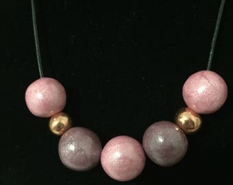 Handmade beads with pink polymer clay necklace