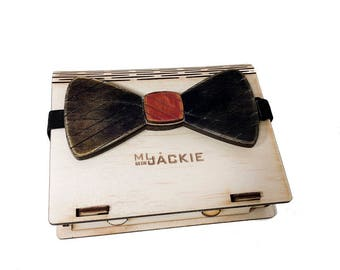 wooden Bow Tie with wooden gift box