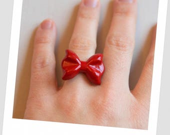 Red sequin bow ring