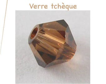 Set of 10 Czech glass, faceted, Brown bicone beads 6 mm, 0.8 mm hole