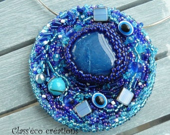 beaded with blue agate necklace