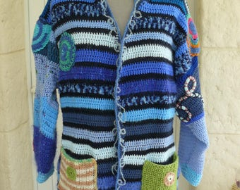 Great jacket made in freeform crochet