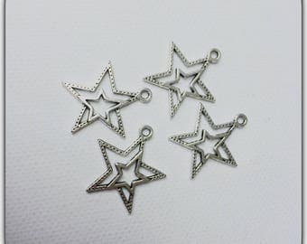 Set of 4 silver stars, 2 to 4 charms