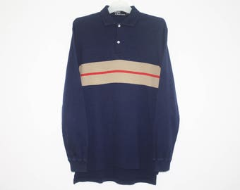 Polo By Ralph Lauren Navy Blue Brown Cotton Long Sleeves Polo Shirt Size M