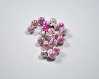PE25 - Set of 20 beads Pearly fuchsia synthetic, black and grey